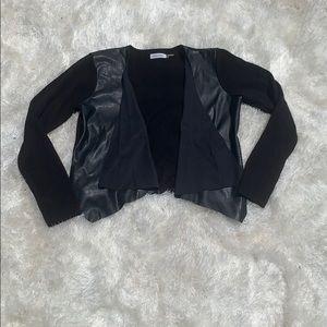 Calvin Klein Cardigan w.Leather & Faux Suede Drape